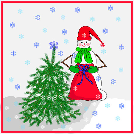 hat new year s eve: Snowman with gifts beside Christmas tree. Vector illustration.