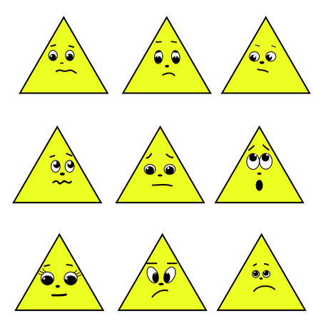 grimace: A set of emotion. Triange emotions. Emotions isolated. Vector image.