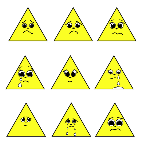 grimace: A set of emotion. Triangle emoticons. Expressions in a triangle. Emoticon icon Different emotions collection. Emoticon isolated. Vector images.