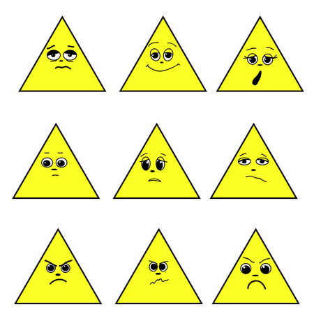 A set of emotion. Triangle emoticons. Expressions in a triangle. Emoticon icon Different emotions collection. Emoticon isolated. Vector images.
