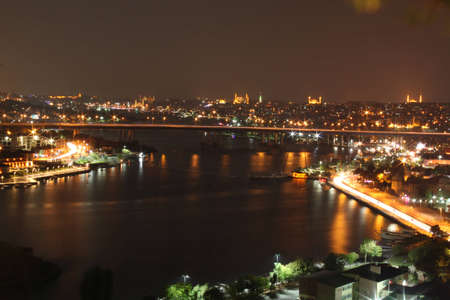 Istanbul night view from the top of pierre loti 版權商用圖片