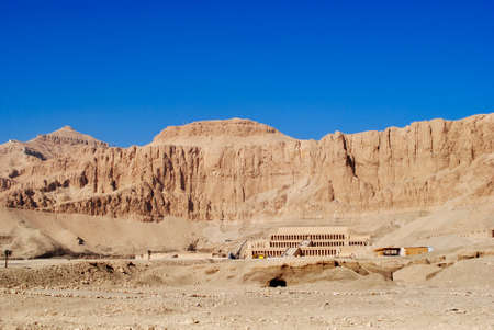 The impressive mortuary temple of Queen Hatshepsut. West bank of the Nile near the Valley of the Kings. Luxor Egypt.