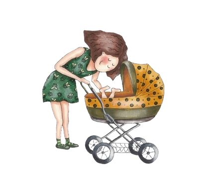 Mother with baby in stroller. Young mother pushing baby in pram. Hand drawing Stock Photo
