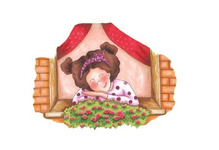 Front view of the little girl, who looks through the window to the flowers, hand drawing.