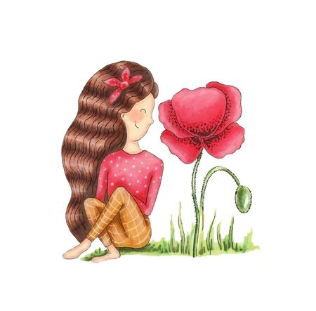 Cute girl sits and looks at poppy, hand drawing.