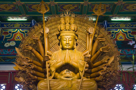 idol engrave from teak at chinese temple at bangbuatong nonthaburi