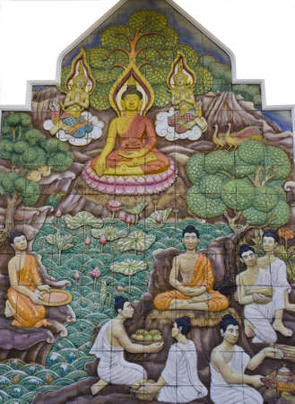story of Buddhism on mural
