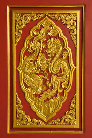 woodcraft: handicraft gold dragon at Chinese temple