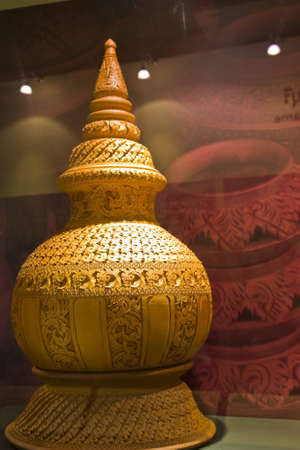 clay pot in thai style pattern Stock Photo