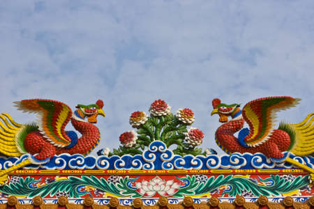 Chinese style phoenix on the roof