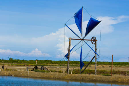 wind mill by Thai style Stock Photo