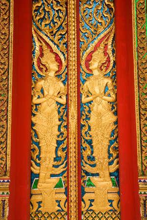 architecture in Thai atyle on Buddha church  Stock Photo