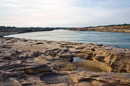 streaming of water take natural art at  river side mekhong river
