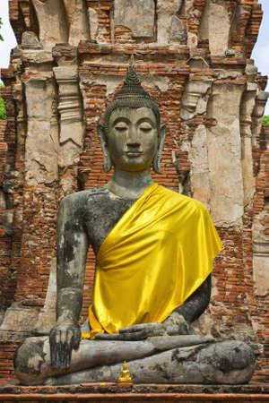 ancient Buddha image at Ayuttaya Thailand