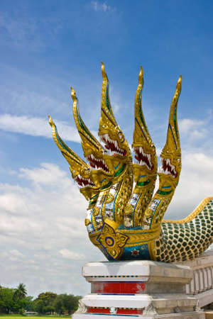 fivr head serpent pattern by Thai style Stock Photo