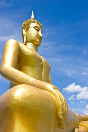 side view of gold Buddha image