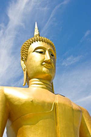 by close up of big Buddha image Stock Photo