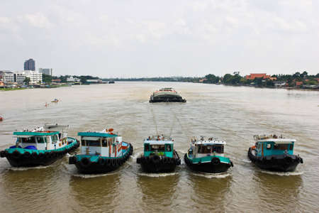 transportation by river side in Thailand Stock Photo