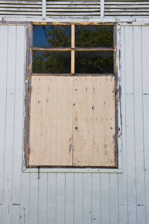 detritus: antique wooden wall and windows Stock Photo