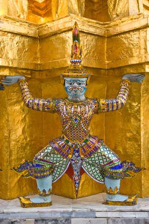 giant image around the temple of emerald Buddha Bangkok Thailand