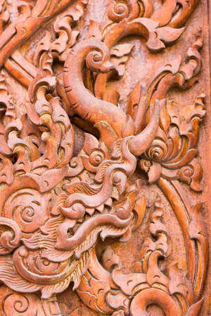 engraving by teak wood Stock Photo - 14255962