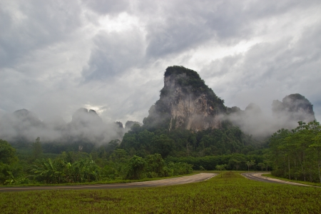 misting on mountain at southern Thailand