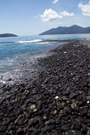 cobble stones on island where at south of Thailand