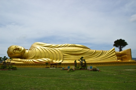 reclining Buddha image at Thai temple south of Thailand