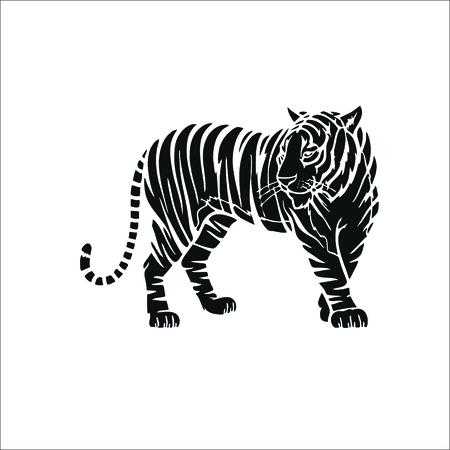 Tiger icon. Vector Illustration Çizim