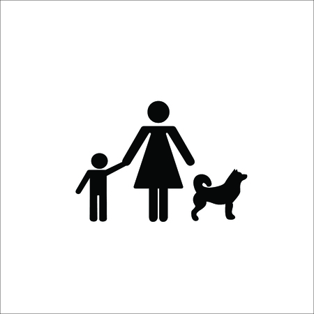 women and son with dog vector Illustration