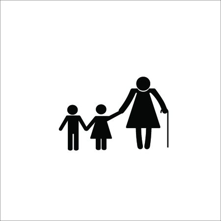 Grandmother with children vector Illustration