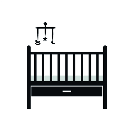 Baby bed icon. Vector illustration