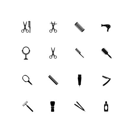 Barber beauty salon accessories. Flat set icon vector illustration.