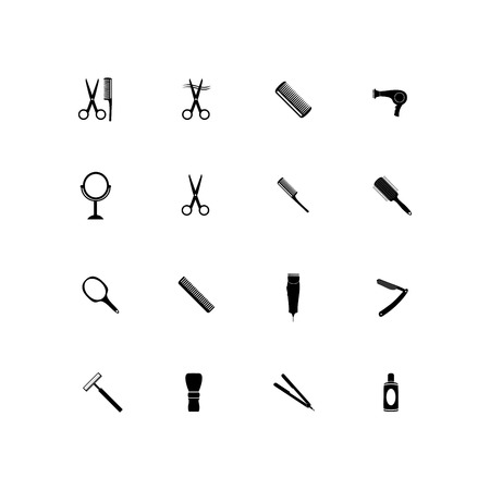 Barber beauty salon accessories. Flat set icon vector illustration. 版權商用圖片 - 102089219