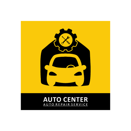 Car repair icon in black and yellow color illustration. Stock Illustratie