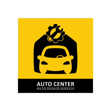 Car repair icon in black and yellow color illustration. Stockfoto - 100523678