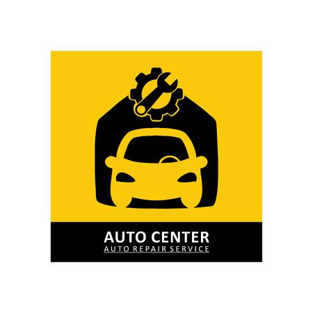 Car repair icon in black and yellow color illustration. Stock Illustratie