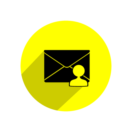 Mail icon in yellow circle. Vector Illustration. Illustration