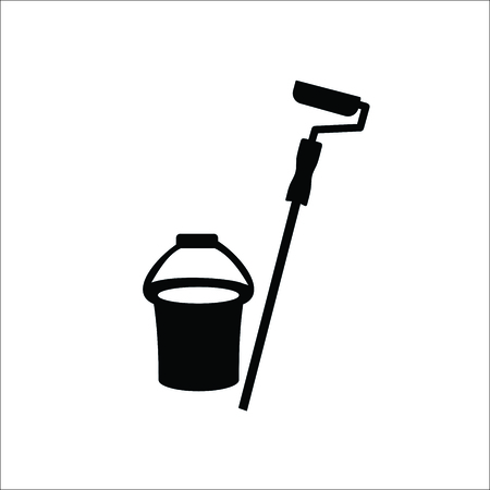 Bucket and paint roller icon. Vector illustration Illustration