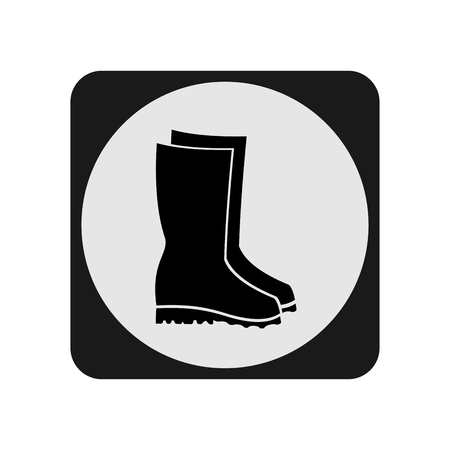 Rubber boots icon in light circle on white background.