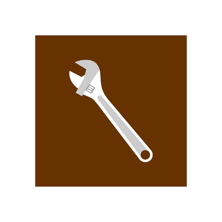 Wrench icon in brown square Vector Illustration. Illustration