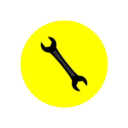 Wrench icon in yellow circle Vector Illustration. Illustration