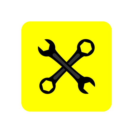 Wrench icon in yellow square. Vector Illustration.