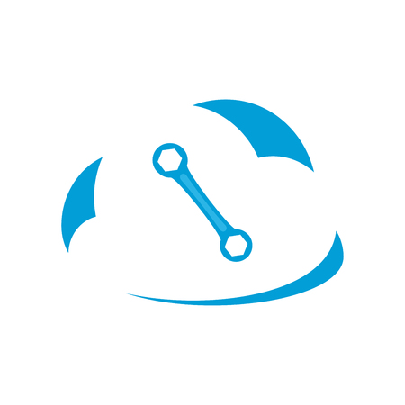 Wrench icon in white cloud. Vector Illustration.
