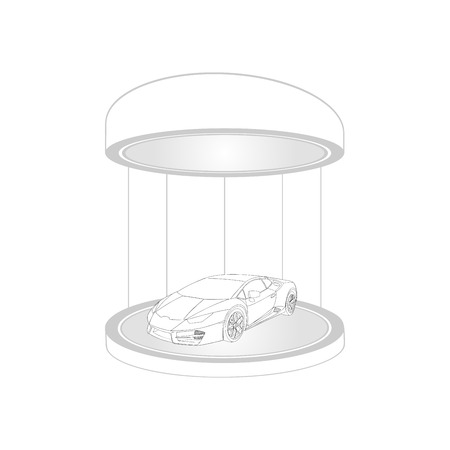 Car icon. Vector Illustration. White color