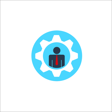 Gears with businessman icon