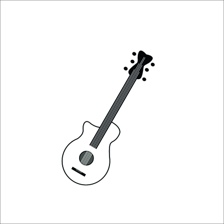 Musical instrument guitar design on white background.