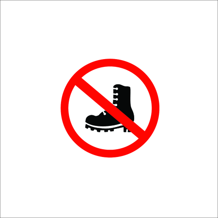 forbidden shoes sign. Vector Illustration  イラスト・ベクター素材