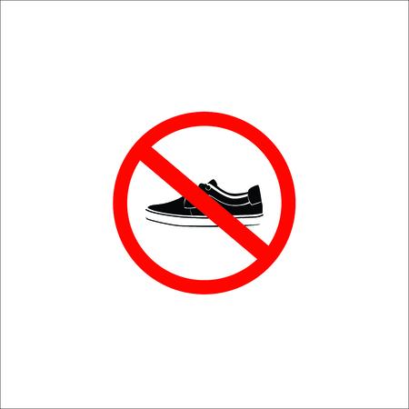 forbidden shoes sign. Vector Illustration Illustration