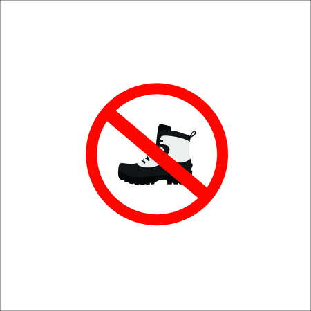 forbidden shoes sign. Vector Illustration Vectores